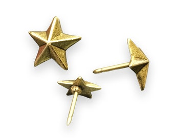 1.88 inches Lot of 6 pcs Vintage Solid Brass Retro WESTERN STAR Nail  Spike  Thumbtack  Hob Decor AA028