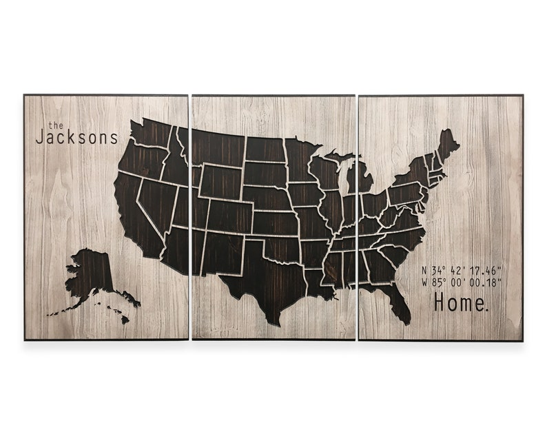 Large Interactive US Map Art, Pushpin Friendly, Home Coordinates Wood Wall  Decor, Centerpiece to Mark Travels, Custom Text, Family Sign