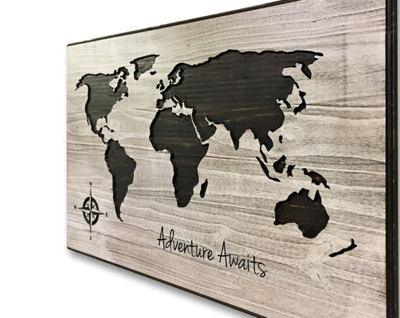 World Map With Quote Push Pin Map Mark Travels Adventure - World map to mark travels
