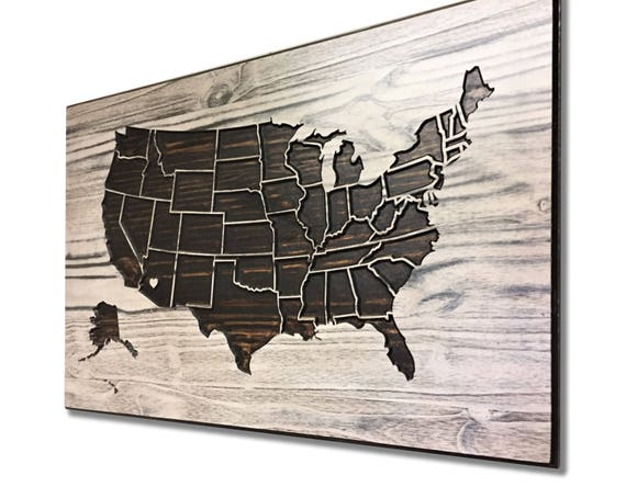 Wooden US Map Wood wall art Home Wall Decor United States | Etsy