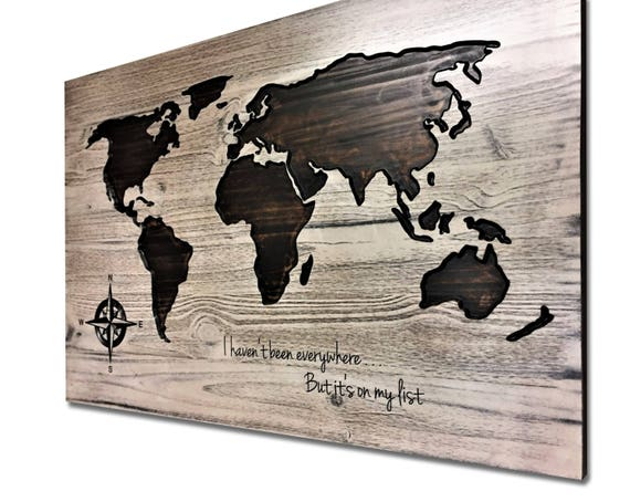 Large World Map Wall Art Wood World Map Carved Quote Sign Etsy