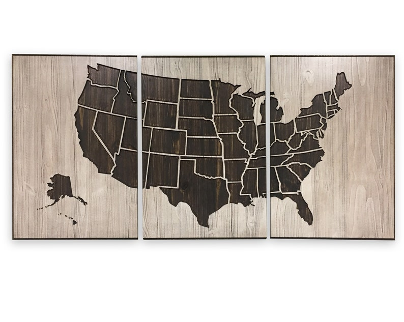 Large United States Map Art US Map Art Carved 3D Wood Wall | Etsy