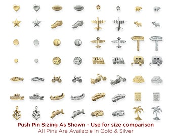 Mix and Match Solid Metal Push Pins, Gold & Silver Travel Markers, Mark Map Locations, Quality Pushpin No Plastic, Combination of Thumbtacks
