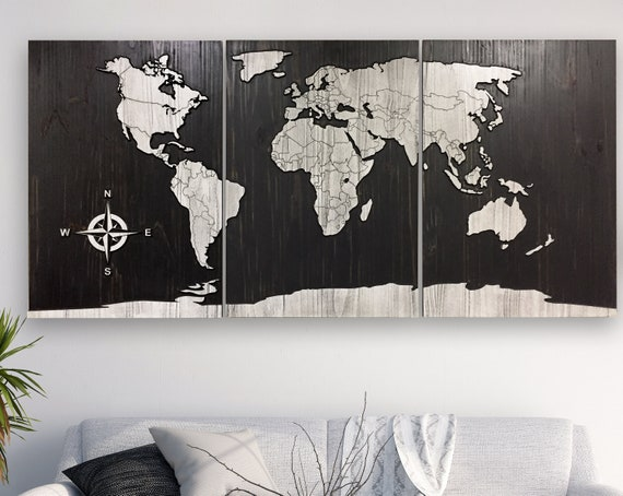 Map Of The World With Compass.World Map Art 3d Wall Art Carved Wooden Map Map Of World Etsy