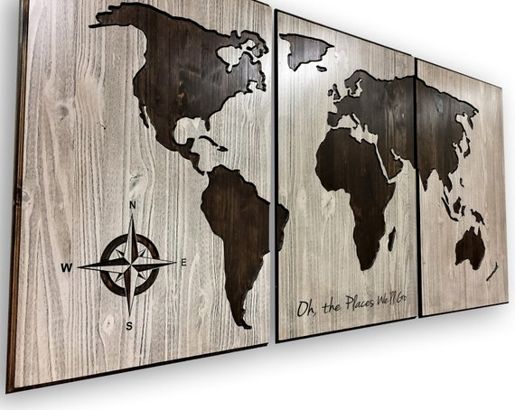 World Map Wood Wall Art, Map of World, Large Wooden Decoration, Push Pin  Friendly Craftsmanship, Home or Office Sign, Print Poster Canvas
