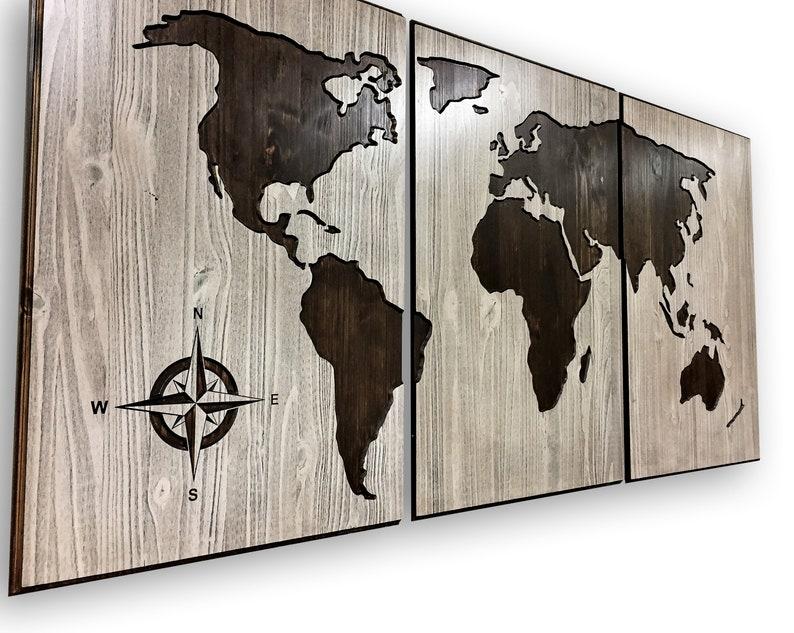 Sticker carte de bois du monde sculpté panneau décor à la etsy