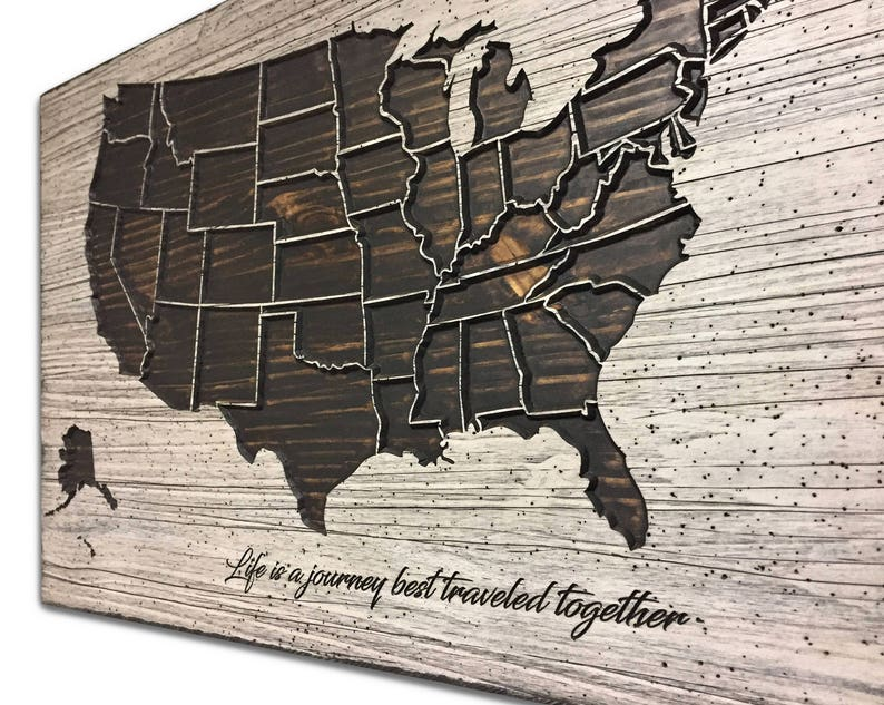 Wooden US Map with state lines Solid Wood Carved home decor | Etsy