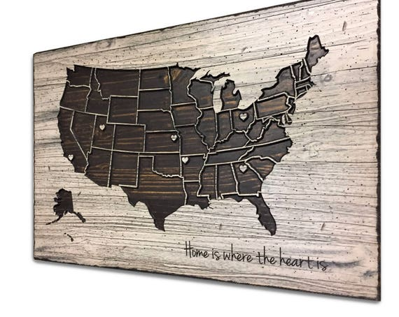 Customize Us Map.Wooden Us Map Customize Your Own Quote Mark Your Locations Etsy