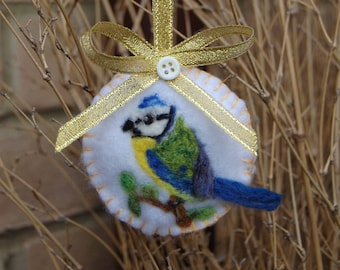 Blue Tit Decoration, Needle Felted Bird Bauble - Spring Bird Art - Gardeners Gift for Bird Lovers/Unique Ornament Mother's Day Gift - Nature