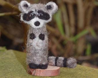 Needle Felted Raccoon - Woodland Animal Soft Sculpture - Miniature Art Nursery Decor - Animal Lover Gift Idea - Woodland Decor - Cute Art