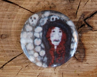 Vampire Pin Badge, Needle Felted Halloween Button Badge - Creepy Cute Pins - Skulls Catacombs - Red Haired Monster Art - Horror Gift