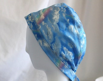 70e9f3dfdf9 Blue Sky with Clouds & Rainbows Surgical Scrub Cap Chemo Dental Hat