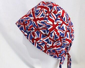 757acce525d UK Flag Union Jack Surgical Scrub Cap Chemo Hat