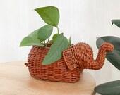 Rattan Wicker Elephant Planter Basket