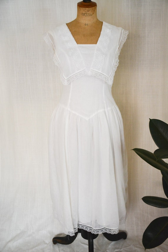 Vintage Gauzy White Gunne Sax Sailor Dress - image 1