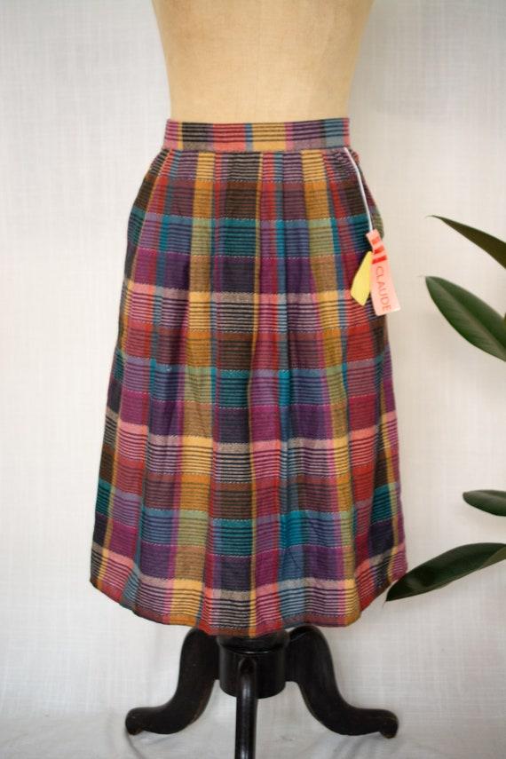 Vintage Deadstock Rainbow Plaid Skirt