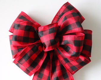 buffalo plaid wreath bow red plaid ribbon for front door wreath pre made bow for diy wreath making christmas bow decorations rustic bow - How To Make A Christmas Bow For A Wreath