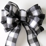 Black and White Buffalo Check Wreath Bow, Pre-Made Checkered Wreath Bow, Ribbon for Wreath Making, Outdoor Fall and Christmas Wreath Bow