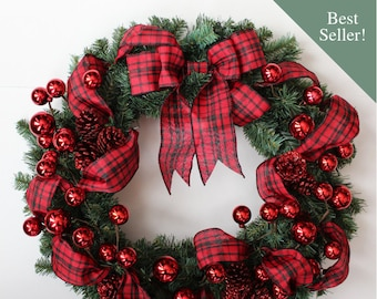 red and black buffalo plaid christmas front door wreath rustic lodge wreath mountain christmas decorations red front porch decor - Red And Black Christmas Decorations