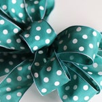 Summer Wreath Bow for the Front Door, Wreath Making Pre Made Bow, Teal and White Wreath Ribbon, Door Sign Bow, Mother's Day Decorating Bows