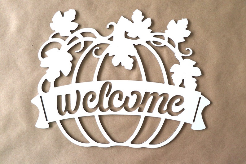 DIY Wreath Sign Pumpkin Welcome Sign Fall Welcome Sign Door image 0