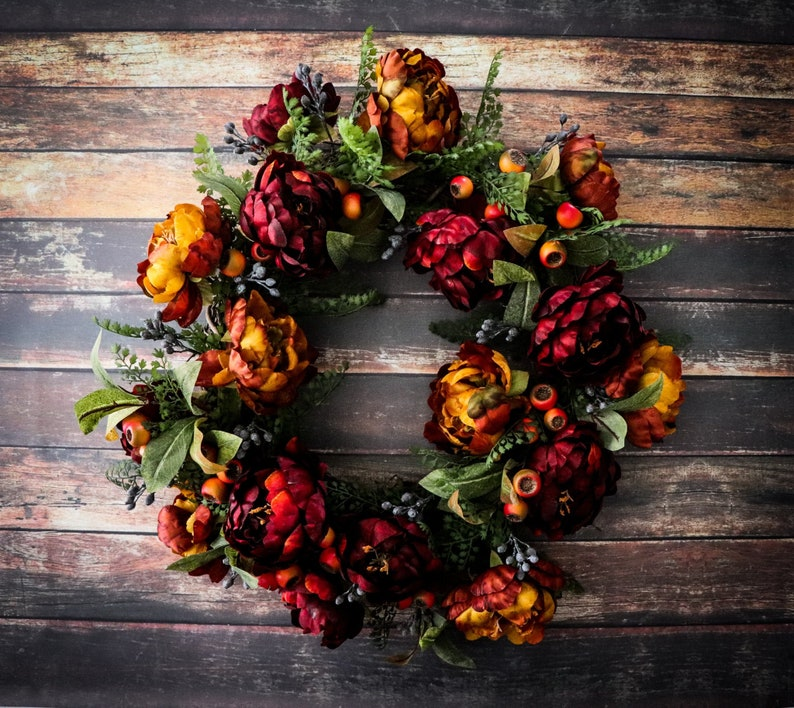 Fall Peony Door Wreath Rustic Country Home Decor Outdoor image 0