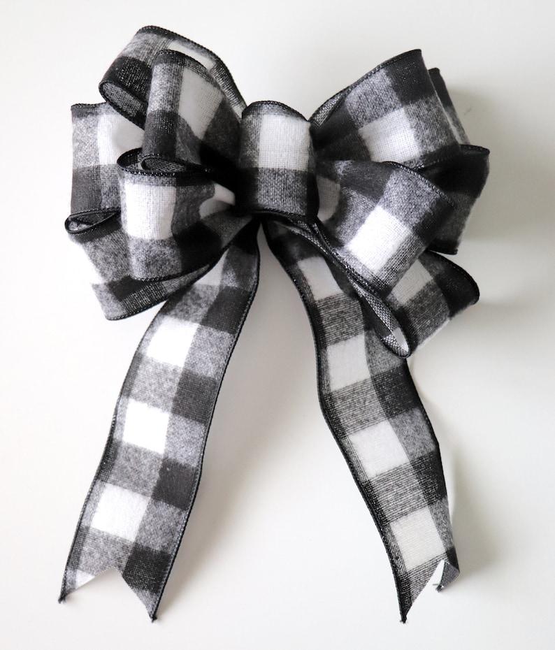 Black and White Buffalo Check Wreath Bow Pre-Made Checkered image 0