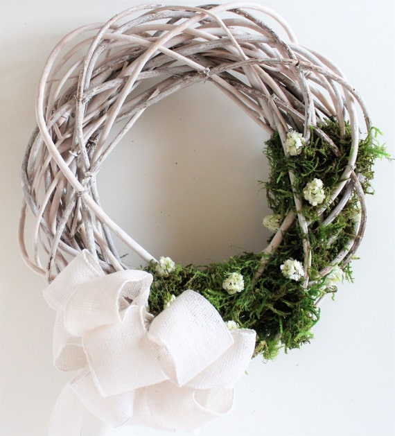 White Greenery Grapevine Wedding Wreath Enchanted Forest Moss Etsy