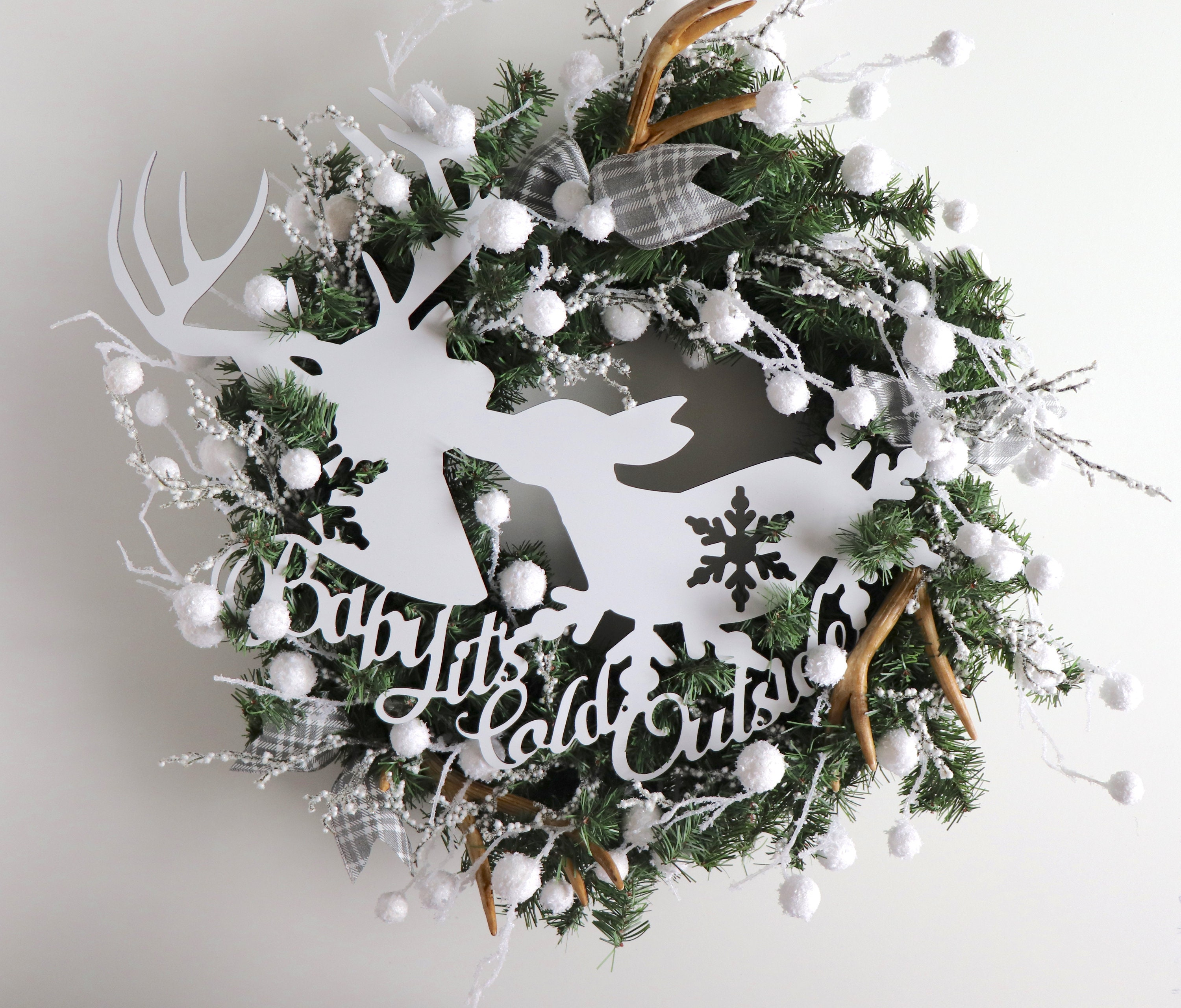 Reindeer Christmas Wreath for the Front Door Winter Door Decorations Rustic Christmas Wreath Baby It s Cold Outside Decorations