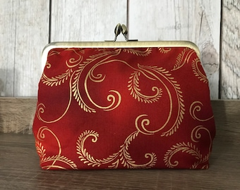 Christmas clutch in red and gold