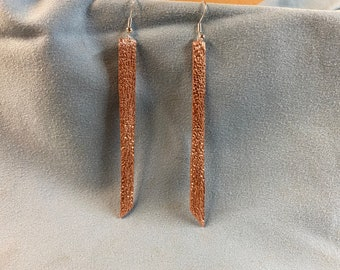 Copper earrings rectangular heavy gauge thick from science exploration