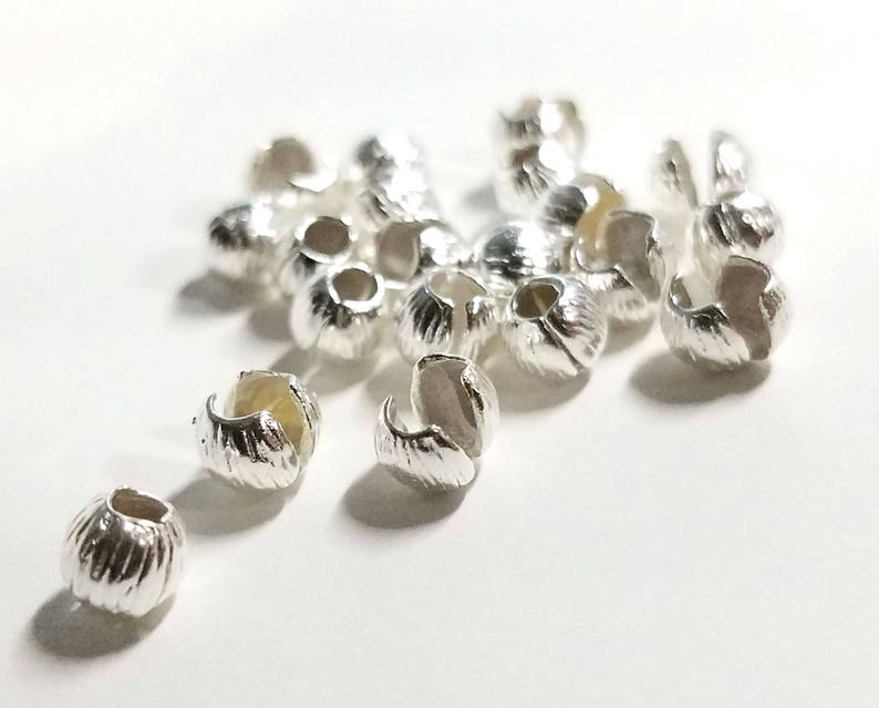 Silver Chose size Bead tips CrimpClampPinch close Decorative Cord ends