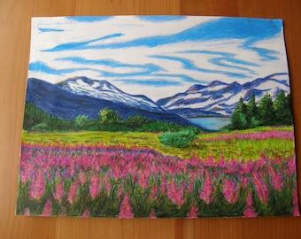 "ORIGINAL colored pencil landscape drawing: ""Alaskan Wilderness"""