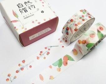 Red Berry Washi Tape | Japan Masking Tape | Kawaii Japan Decorative Tape | Japan Scrapbooking Planner Sticker 3m (2pcs) Q12