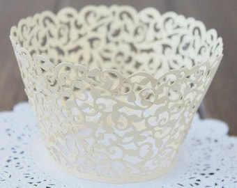 Cupcake Wrapper   White Pearl Lace Cupcake Liner   Filigree Decorations Wedding Cake Wraps   Party Baby Shower Birthday (12pcs)
