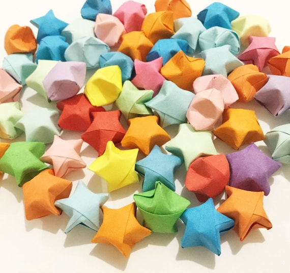 Origami Lucky Stars Plain Mixed Wishing Star Handmade Etsy