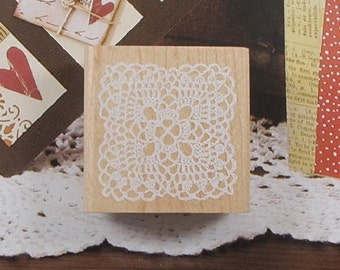 Lace Square Stamp / Wooden Rubber / Craft Favour Calligraphy Scrapbooking Wedding Party card making