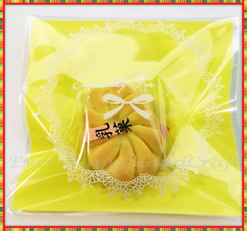 Resealable Self Adhesive Cello Baby Shower Wedding Gift Christmas Party Favor Bags Biscuit Chocolate Cookies Yellow Ribbon 20pcs BA15