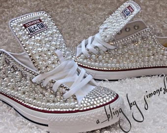 Adults custom bling and pearls converse f35b4664d