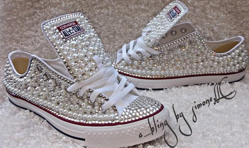 ba06810e2f3 Custom Pearl Embellished Adult Converse