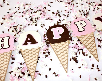 Ice Cream Cone Banner | Ice Cream Birthday | Ice Cream Social | Neapolitan Ice Cream Party Decor l Ice Cream Baby Shower | Summer Sweets