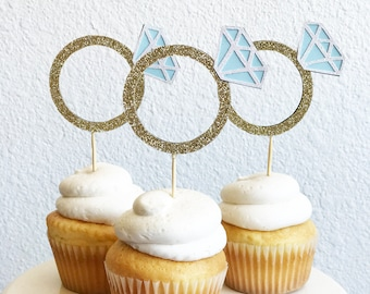 Diamond Ring Cupcake Toppers | Diamond Cupcake Toppers | Bridal Shower Cupcake Toppers | Ring Cupcake Toppers | Cake Topper | Party Decor