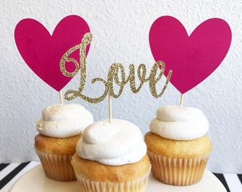 Love Cupcake Toppers | Heart Cupcake Toppers | Bridal Shower Cupcake Toppers | Wedding Cupcake Toppers | Cake Topper | Party Decor | Engagem