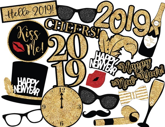 New Years Eve Photo Booth Props Instant Download New Years Props