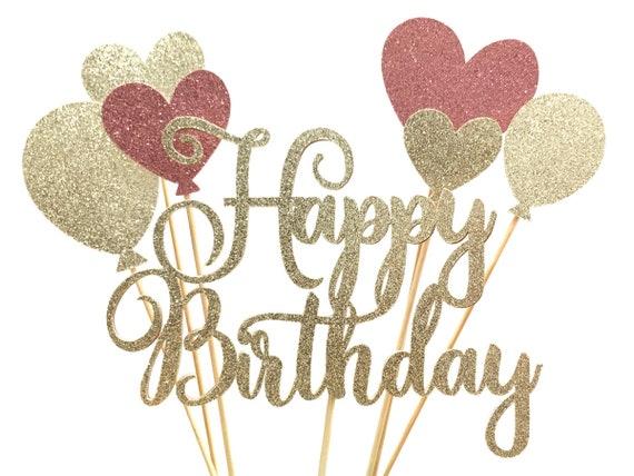 Glitter Script Happy Birthday Balloon Cake Topper