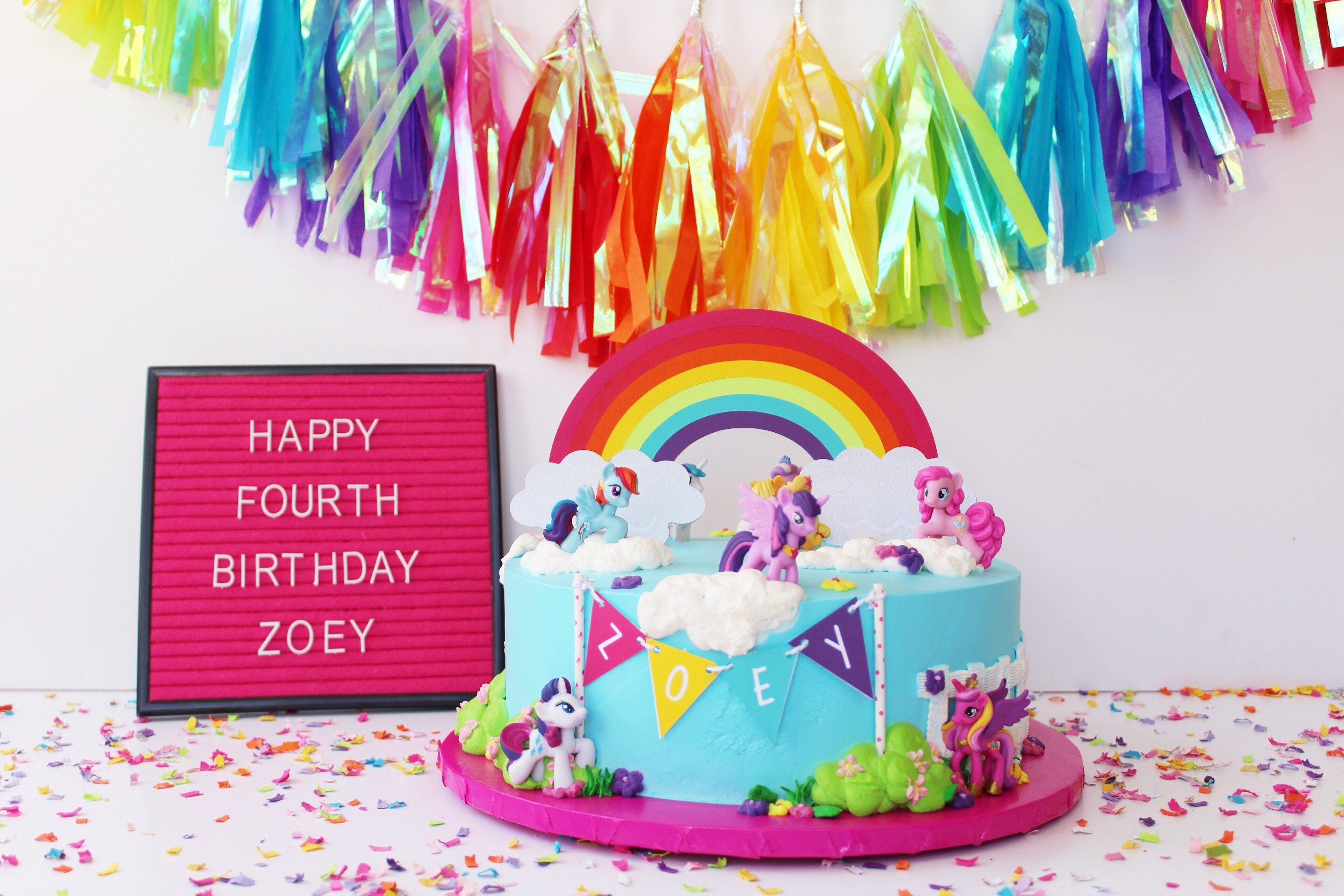 Rainbow Cake Topper Colorful Birthday
