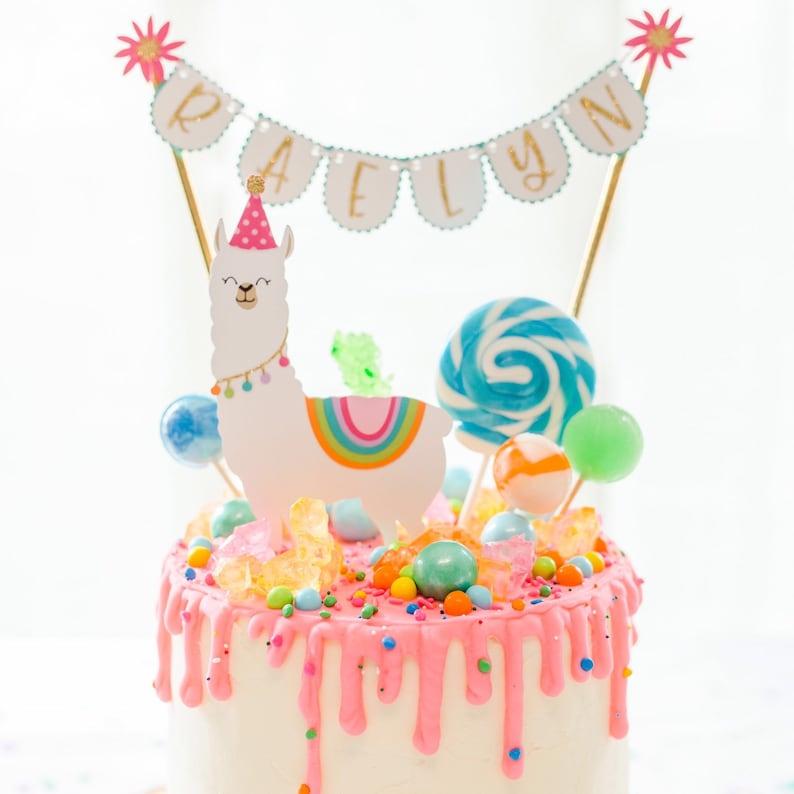 Llama & Cactus Party Cake Topper Set Llama Birthday Party ...