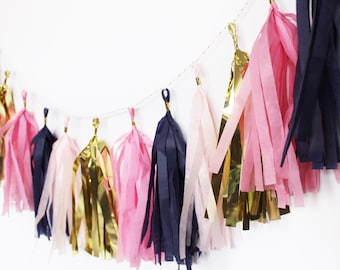 Tassel Garland | Tassel Banner | Tassels | Navy Blue and Pink Tassel Garland | Navy Blue and Pink Party | Navy Blue and Gold| Navy and Blush