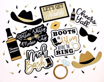 Nash Bash Photo Booth Props | Nashville Bachelorette | Nashville Birthday  Nash Bash Decor | Nash Bash Party | Country Bridal | Country Part