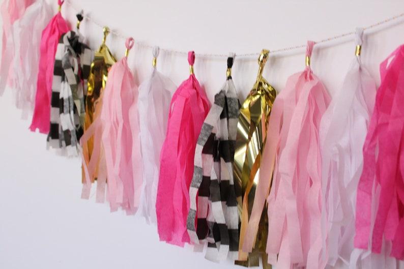 Pink Bridal Shower Decor Birthday Party Decor | and Black and White Stripe Tassel Garland Tassel Banner Gold Party Supplies White